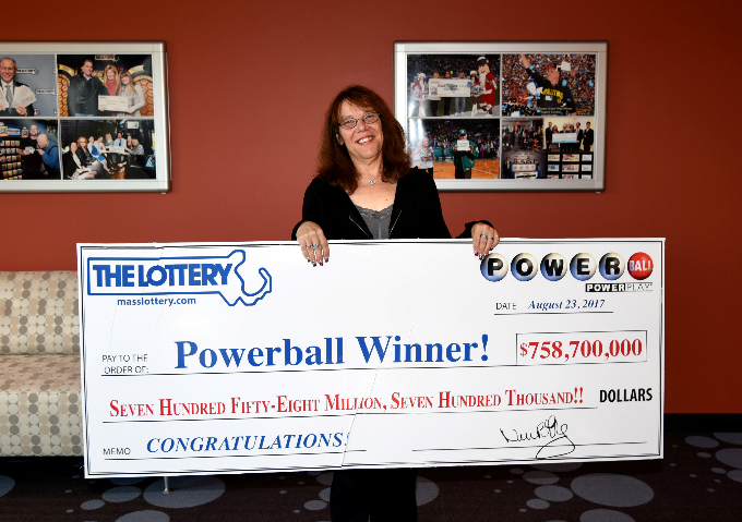 Mavis Wanczyk of Chicopee, Massachusetts, the winner of the $758.7 million Powerball jackpot is pictured in Braintree, Massachusetts, U.S. in this August 24, 2017 handout photo. Photo by Massachusetts State Lottery/Handout via Reuters
