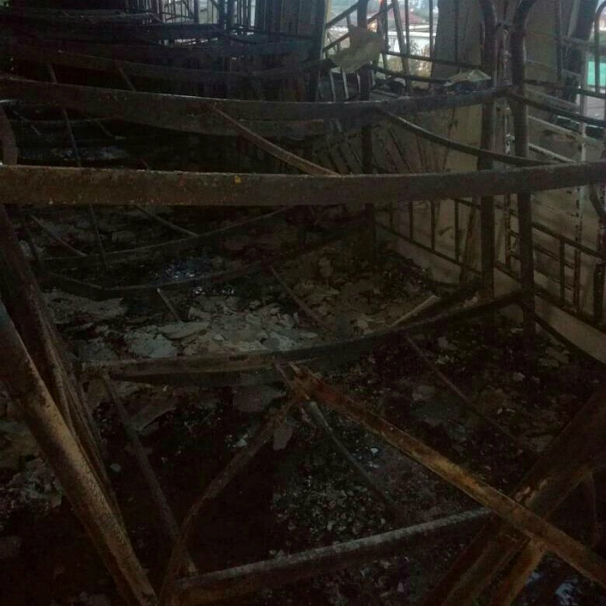 The charred interior of the religious school Darul Quran Ittifaqiyah after a fire broke out in Kuala Lumpur, Malaysia in this handout photo September 14, 2017. Photo courtesy of Fire & Rescue Department of Malaysia /via Reuters