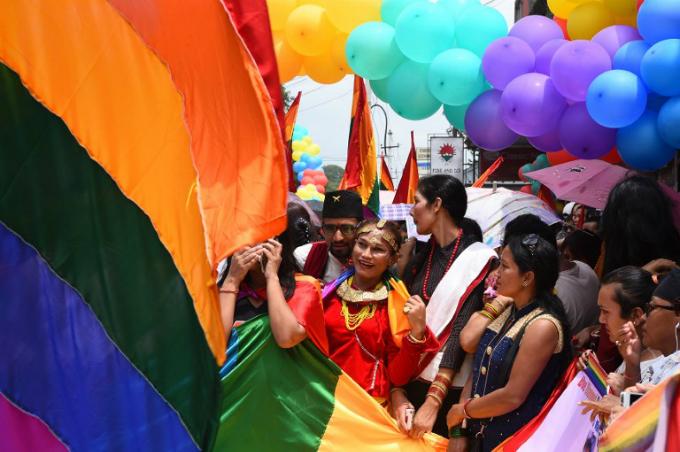 Nepali transgender person Monika Shahi Nath taking part in a gay pride parade in Kathmandu. Photo by AFP/Prakash Mathema