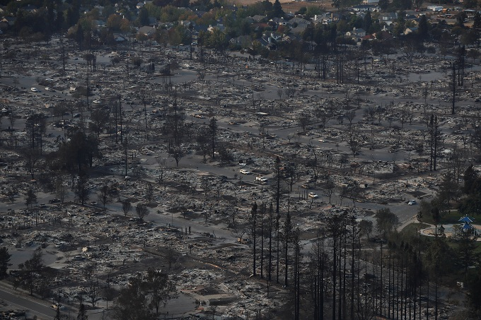 An aerial view of properties destroyed by the Tubbs Fire is seen in Santa Rosa, California, U.S., October 11, 2017. Photo by Reuters/Stephen Lam