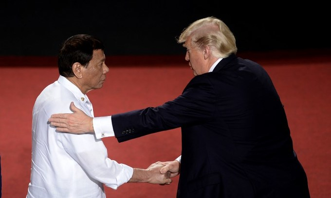 Trump hails 'great relationship' with self-proclaimed killer Duterte