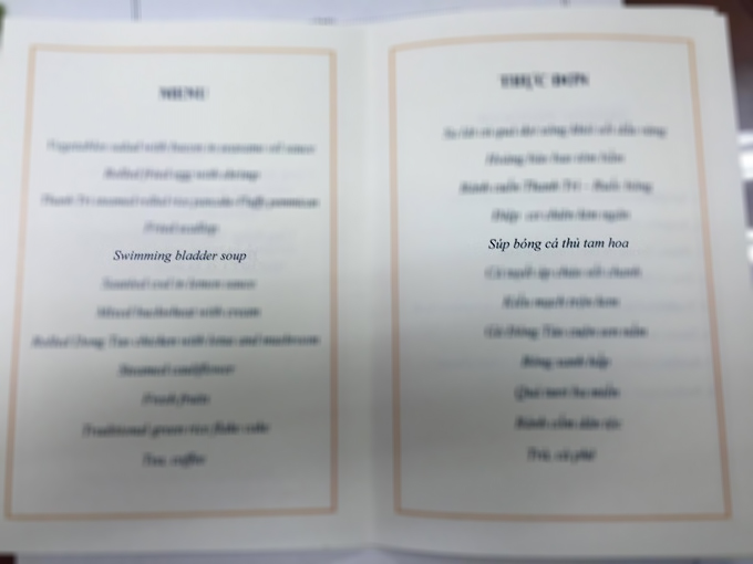 The menu obtained by VnExpress International does not mention shark fin at the state dinner attended by President Trump in Hanoi on November 11.