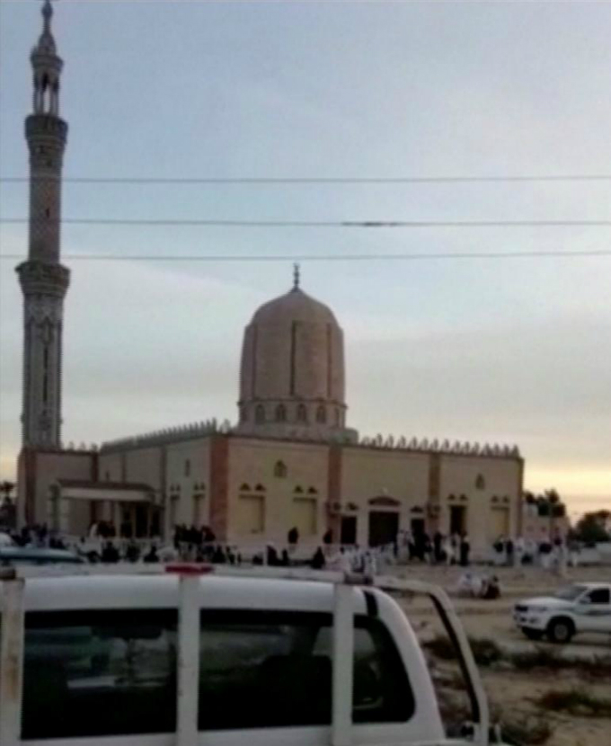 The exterior of Al Rawdah mosque is seen in Bir Al-Abed, Egypt November 24, 2017 in this still taken from video. Reuters TV/ via Reuters