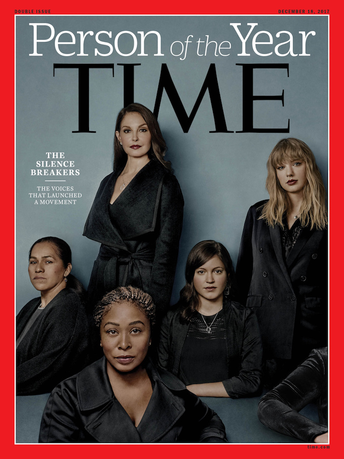 Ashley Judd, Susan Fowler, Adama Iwu, Taylor Swift, and Isabel Pascual (a pseudonym) are pictured on the Time magazine Person of the Year cover for 2017 in this handout photo obtained by Reuters December 6, 2017. Photo by Time Inc./Handout via Reuters.