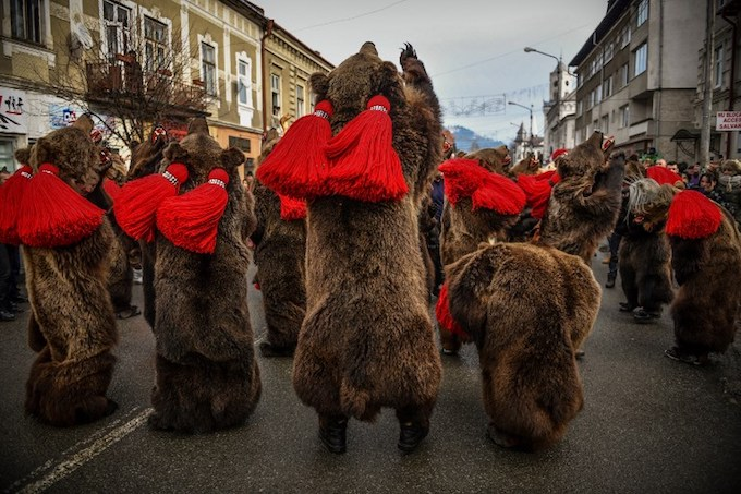 People wearing bear skins parade as part of a new year and winter festival during which groups from northern Romanian villages are invited to sing winter carols and dance on December 29, 2017 in the city of Vatra Dornei.Photo by AFP/Daniel Mihailescu