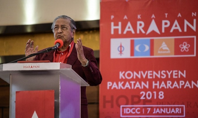 Malaysia's opposition alliance names 92-year old Mahathir as PM candidate