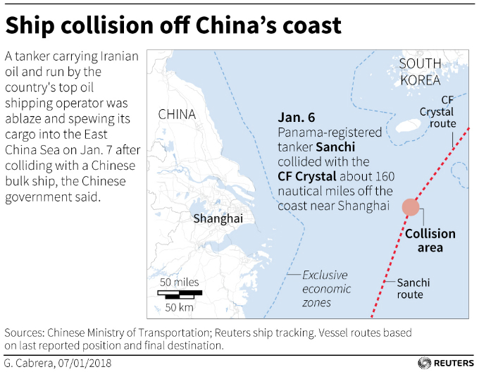 Map showing ship collision location. Graphic by Reuters.
