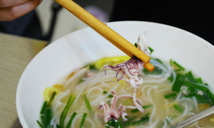 Saigon noodle soup with a tasty tentacle twist