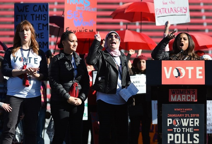 Womens March Co-Chairwomen Bob Bland, Carmen Perez, Linda Sarsour and Tamika D. Mallory speak during the Womens March Power to the Polls voter registration tour launch at Sam Boyd Stadium on January 21, 2018 in Las Vegas, Nevada. Demonstrators across the nation gathered over the weekend, one year after the historic Womens March on Washington, D.C., to protest President Donald Trumps administration and to raise awareness for womens issues. Photo by AFP/Ethan Miller/Getty Images/