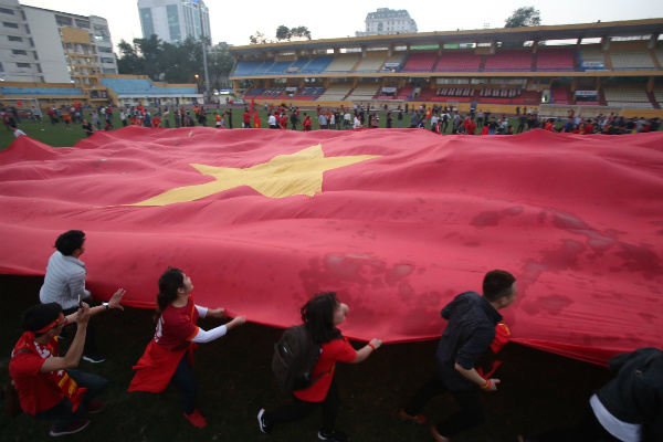 The national flag is everywhere on the streets of Vietnamese cities.