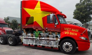 Vietnamese cars sporting the national colors for U23 Asian Cup final against Uzbekistan