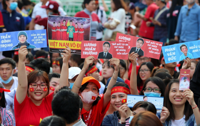 Fans are seen inside the stadium . Though the Vietnam returns home as runner-up after losing the final match to Uzbekistan, what they performed during the tournament in China has won the hearts of millions of Vietnamese people.