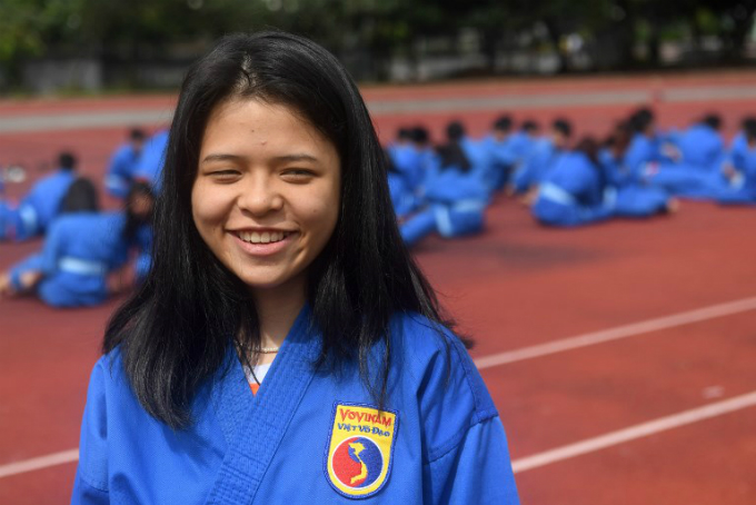 Tran Nguyen Nhat An, 16, a student from the Research Institute for Vovinam and Sport Development (IVS) speaks during an interview with AFP at the campus in Ho Chi Minh City..