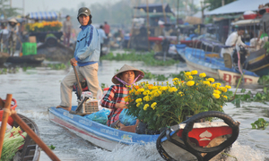 Floating market carries Tet spirit in Vietnam's rural south
