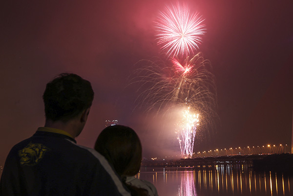 Fireworks were launched from Nguyen Van Troi Bridge as Da Nang welcomed the new lunar year.