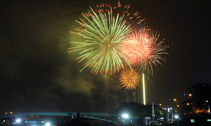 Fireworks light up the sky as Vietnam welcomes Lunar New Year
