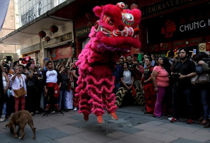 Members of Mexico Citys Chinese community perform the lion dance in Mexico City, Mexico, February 15, 2018. Photo by Reuters/Henry Romero