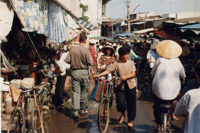 A wet market in the late 90s, when bicycles were a popular affordable vehicle.