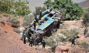 At least 44 die in Peru after bus plunges into ravine