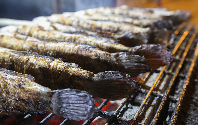 On average, it takes 30 minutes to grill a fish. According to the seller, its important for the grills to maintain a stable temperature. If its not hot enough, the fish will be undercooked. If its too hot, it will burn.   In addition, the cook has to pay attention for the fish not to get too burnt, otherwise the fins will fall off. On an ordinary day, that wouldnt be a problem but not on God of Wealth Day, when the fins of snakehead fish have to be intact if we want customers to buy them, said Dung.