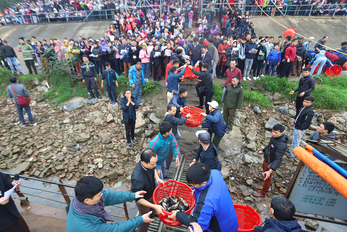 Baskets of fish are quickly passed through the crowd onto a boat waiting by the river bank.