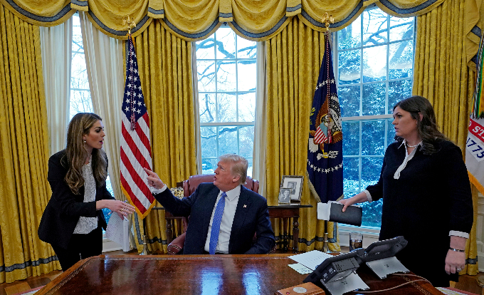 Hicks, President Trump, and Press Secretary Sarah Huckabee Sanders in the Oval Office.Photo by Reuters/Kevin Lamarque