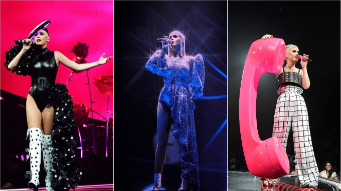 Three Cong Tri designs worn onstage by Katy Perry in her concert in Montreal, Quebec in September 2017.