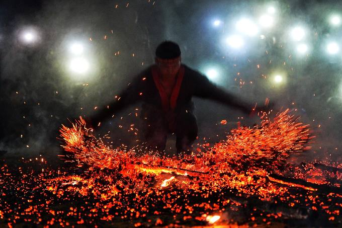 Throughout the performances, none of the fire dancers had anything to protect their hands and feet from the fire but their skins, thickened by years of climbing mountains and working on the fields.