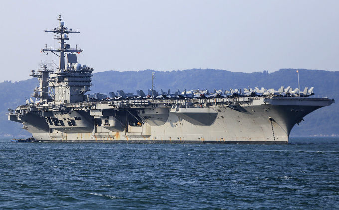 U.S. Navys aircraft carrier the USS Carl Vinson is docking in Tien Sa Port of Da Nang City in central Vietnam for a five day stay until Friday.