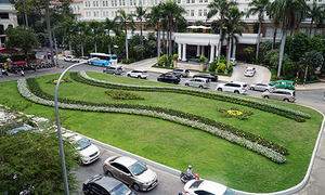 HCMC transforms downtown parking lot into flower garden