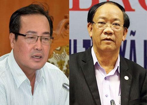Quang Nam Provinces vice chairman Huynh Khanh Toan (L) and chairman Dinh Van Thu (R). Photo by VnExpress.