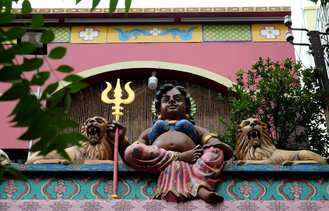 A statue of Mariamman, a Goddess in Hinduism, is put on the façade of the temple, which stands on Truong Dinh Street, only a few minutes of walking from Saigons iconic Ben Thanh Market in the heart the city.