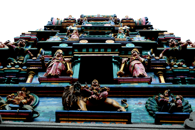 The top of the gate to the temple lies statues of other gods and goddesses.