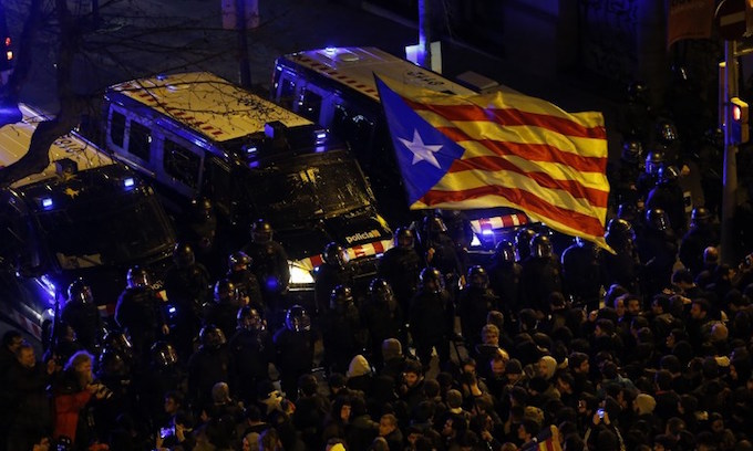 Protests in Catalonia after independence leaders held