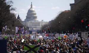 Huge rallies led by students demand tighter US gun controls