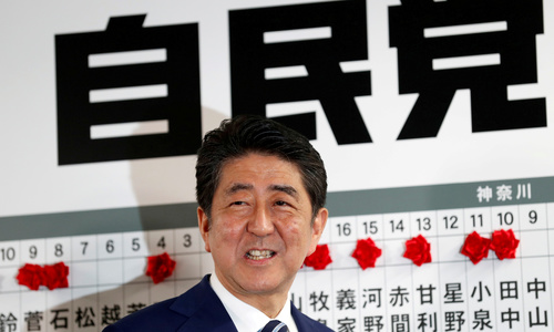 Polls show about half of Japanese voters don't support PM Abe's cabinet
