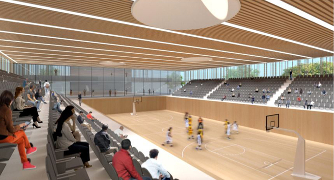 Artists impression: A new basketball court inside the new Hang Day Stadium.New sections for different sports, such as basketball, will also be added to the new Hang Day Stadium.