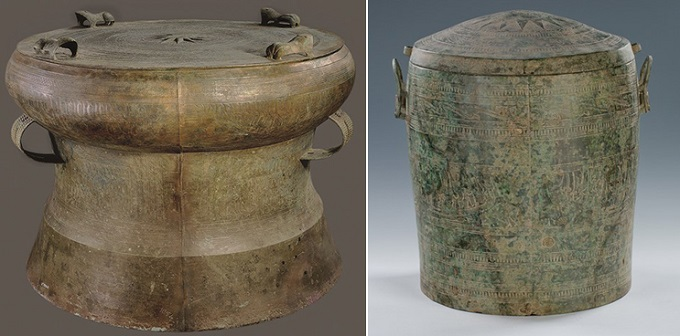 Bronze drum and cylindrical jar of Dong Son culture period (1000 BC to the first century AD) hail from Thanh Hoa province. Both are known as symbols of metalworking in the countrys Bronze Age. File photos acquired by VnExpress
