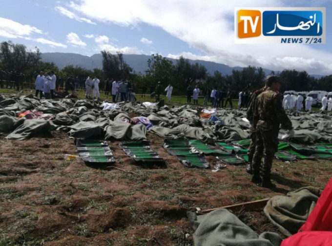 Bodies of victims are covered with blankets after Algerian military plane crashed near airport outside the capital Algiers, Algeria April 11, 2018 in this still image take from a video by Ennahar TV acquired by Reuters.