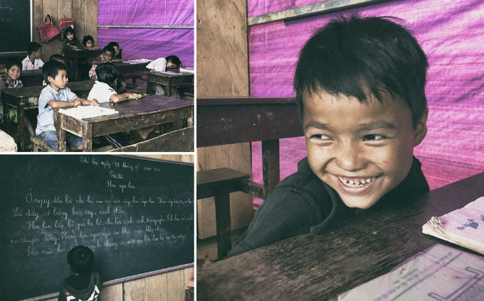 Ca Dong children in their makeshift classrooms in Quang Nam Province. Photo by VnExpress/Duc Hoang
