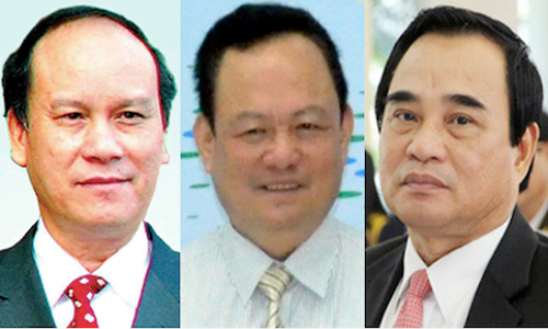 From left: Tran Van Minh, former Danang chairman; Nguyen Dieu, fomer director of Natural Resources and Environment Dept of Danang; and Van Huu Chien, fomer chairman of Danang.
