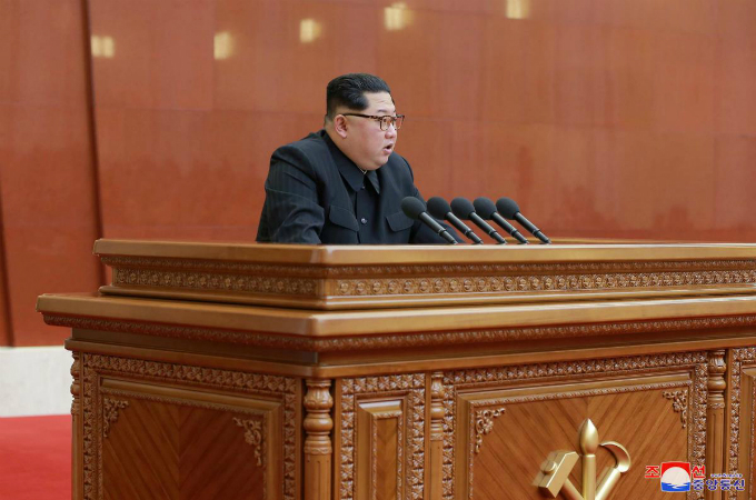 North Korean leader Kim Jong Un speaks during the Third Plenary Meeting of the Seventh Central Committee of the Workers Party of Korea (WPK), in this photo released by North Koreas Korean Central News Agency (KCNA) in Pyongyang on April 20, 2018. Photo by KCNA/via Reuters