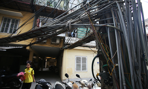 In central Hanoi, water pipes build huge spider mazes