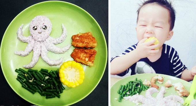 She said that the kids love these cute and creative food. No more complaining, no  more hand-washing reminder. They take their own chairs and spoons, sit  at the table and enjoy their plates within 15-30 minutes. Sometimes, the youngest child feels too excited and he uses hands to enjoy his food.