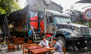 Saigon container truck open for coffee, not logistics