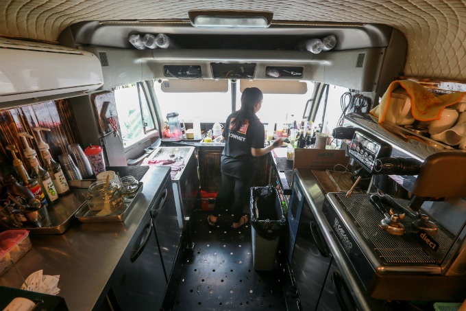 The trucks interiors and engines had been removed before the cabin was changed into the barista counter.