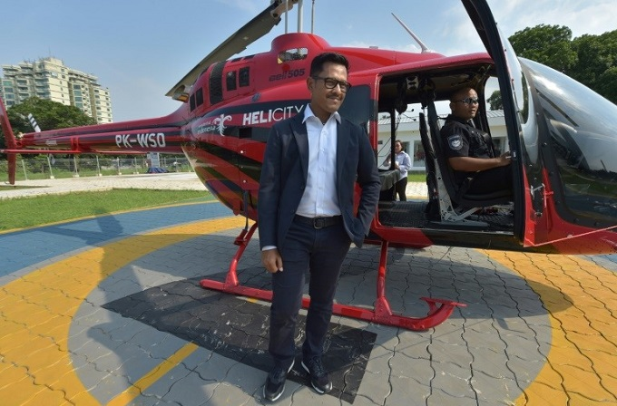 Whitesky Aviation chief executive Denon Prawiraatmadja has ambitious plans to expand the services current fleet of five helicopters. Photo by AFP/Adek Berry
