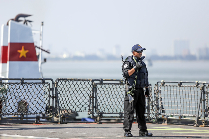 A crew member is on guard on one of the ships. The crews will participate in sport activities and cultural exchanges with officers from the Vietnamese naval team. A joint maritime exercise between the Vietnamese and Indian navies is scheduled on May 25 to wrap up the visit.