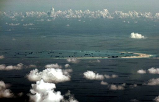 Reclamation by China on Mischief Reef in the Spratly Islands in 2015. Photo by AFP