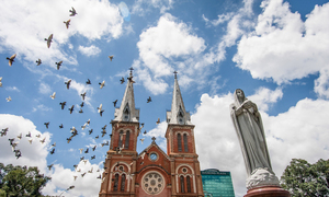 Watch pigeons glide above Saigon's Notre-Dame Cathedral